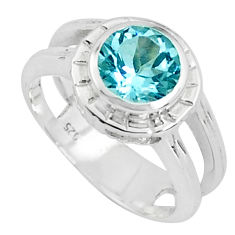 2.44cts natural blue topaz 925 sterling silver solitaire ring size 5.5 p37123