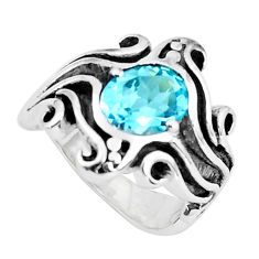 3.21cts natural blue topaz 925 sterling silver solitaire ring size 7.5 p37252