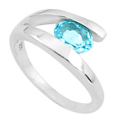 1.74cts natural blue topaz 925 sterling silver solitaire ring size 5.5 p37313