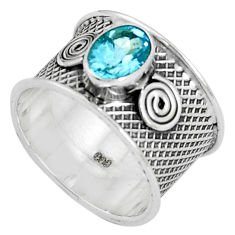 1.99cts natural blue topaz 925 sterling silver solitaire ring size 7.5 p37822