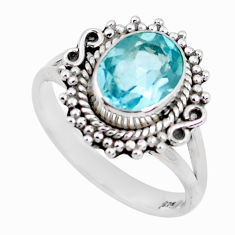 3.50cts natural blue topaz 925 sterling silver solitaire ring size 7.5 p51289