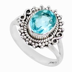 3.26cts natural blue topaz 925 sterling silver solitaire ring size 8 p51290