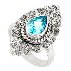 2.55cts natural blue topaz 925 sterling silver solitaire ring size 6 p51299