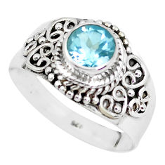 1.21cts natural blue topaz 925 sterling silver solitaire ring size 8 p51317