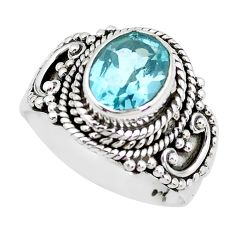3.23cts natural blue topaz 925 sterling silver solitaire ring size 6.5 p51318