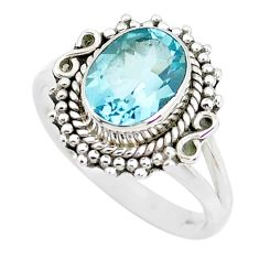 3.51cts natural blue topaz 925 sterling silver solitaire ring size 7 p51325