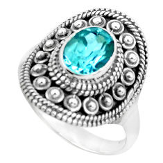 2.01cts natural blue topaz 925 sterling silver solitaire ring size 7 p53062