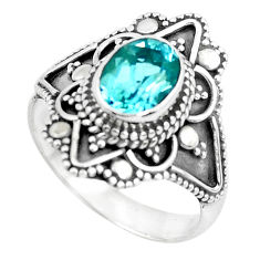 2.14cts natural blue topaz 925 sterling silver solitaire ring size 7 p53086
