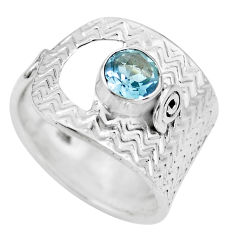 1.00cts natural blue topaz 925 sterling silver solitaire ring size 8 p61733
