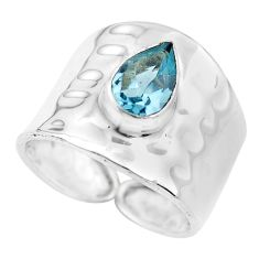2.03cts natural blue topaz 925 sterling silver solitaire ring size 6.5 p61736