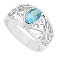 1.66cts natural blue topaz 925 sterling silver solitaire ring size 5.5 p62206