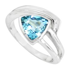 3.52cts natural blue topaz 925 sterling silver solitaire ring size 7.5 p62262