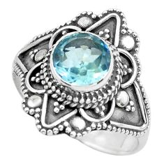 1.96cts natural blue topaz 925 sterling silver solitaire ring size 7 p62868