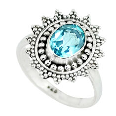 2.09cts natural blue topaz 925 sterling silver solitaire ring size 6.5 p64213