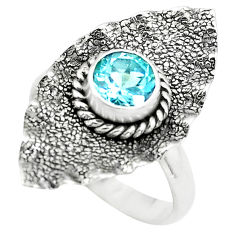 1.01cts natural blue topaz 925 sterling silver solitaire ring size 6.5 p72362