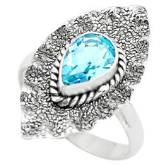 2.21cts natural blue topaz 925 sterling silver solitaire ring size 7.5 p72363