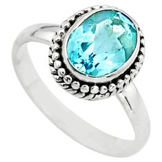 3.51cts natural blue topaz 925 sterling silver solitaire ring size 6.5 p72370