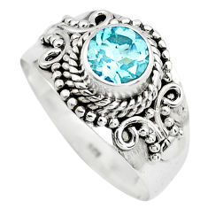 1.04cts natural blue topaz 925 sterling silver solitaire ring size 7.5 p72377