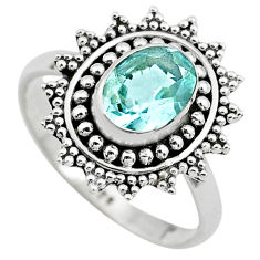2.09cts natural blue topaz 925 sterling silver solitaire ring size 7.5 p72380