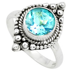 3.19cts natural blue topaz 925 sterling silver solitaire ring size 8 p72382