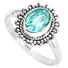 1.81cts natural blue topaz 925 sterling silver solitaire ring size 8 p72383