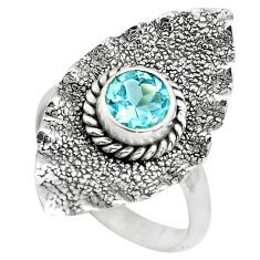 1.21cts natural blue topaz 925 sterling silver solitaire ring size 8 p78923