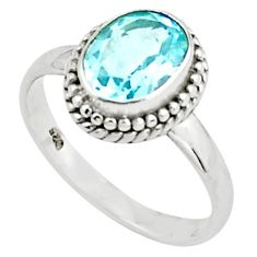 2.09cts natural blue topaz 925 sterling silver solitaire ring size 7.5 p78927