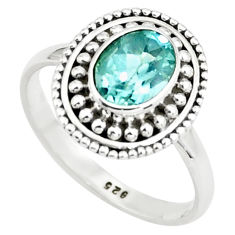 1.96cts natural blue topaz 925 sterling silver solitaire ring size 7.5 p78930