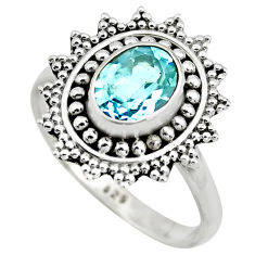 2.09cts natural blue topaz 925 sterling silver solitaire ring size 7.5 p78939