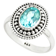 1.96cts natural blue topaz 925 sterling silver solitaire ring size 6.5 p78945