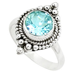 3.48cts natural blue topaz 925 sterling silver solitaire ring size 7.5 p78953