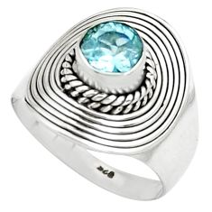 1.34cts natural blue topaz 925 sterling silver solitaire ring size 7.5 p78960