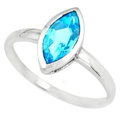 2.27cts natural blue topaz 925 sterling silver solitaire ring size 5.5 p81582
