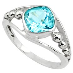 3.42cts natural blue topaz 925 sterling silver solitaire ring size 6.5 p81615