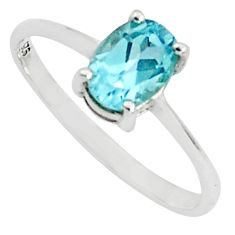 1.55cts natural blue topaz 925 sterling silver solitaire ring size 7 p81985