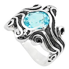 3.22cts natural blue topaz 925 sterling silver solitaire ring size 6.5 p82731