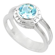 2.41cts natural blue topaz 925 sterling silver solitaire ring size 8.5 p82765