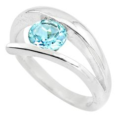1.01cts natural blue topaz 925 sterling silver solitaire ring size 6 p82790