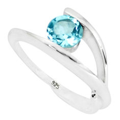 1.48cts natural blue topaz 925 sterling silver solitaire ring size 5.5 p82927
