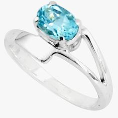 1.51cts natural blue topaz 925 sterling silver solitaire ring size 6.5 p83036