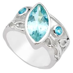 6.31cts natural blue topaz 925 sterling silver solitaire ring size 6.5 p83256