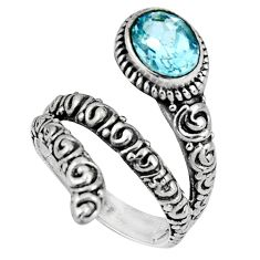 2.01cts natural blue topaz 925 sterling silver solitaire ring size 7 p89567
