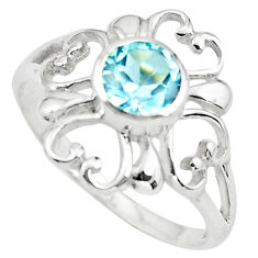 1.45cts natural blue topaz 925 sterling silver tennis ring size 7.5 p73426