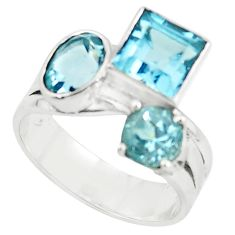 7.10cts natural blue topaz square 925 sterling silver ring jewelry size 7 p73096