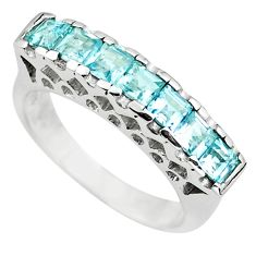 2.93cts natural blue topaz square 925 sterling silver ring size 5.5 p73146