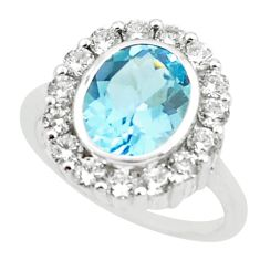 7.66cts natural blue topaz white topaz 925 silver ring size 6.5 p62062