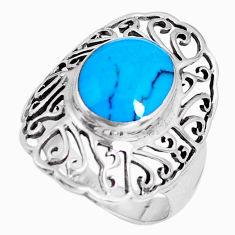4.22cts natural blue turquoise 925 sterling silver ring jewelry size 9 c3000