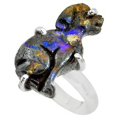 12.50cts natural boulder opal carving 925 silver solitaire ring size 8 p69308