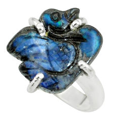 9.18cts natural boulder opal carving 925 silver solitaire ring size 5.5 p69326