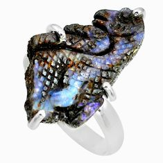 12.60cts natural boulder opal carving 925 silver solitaire ring size 9 p69332